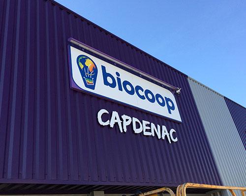 Enseigne rétro éclairée Biocoop